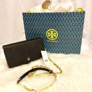 Tory Burch Emerson Chain crossbody chain wallet.